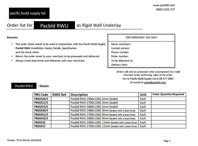 Rigid Wall Underlay Order List