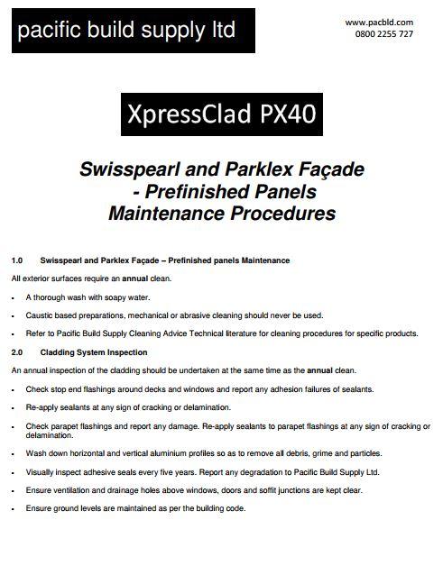 XpressClad PX40 Maintenance - Prefinished