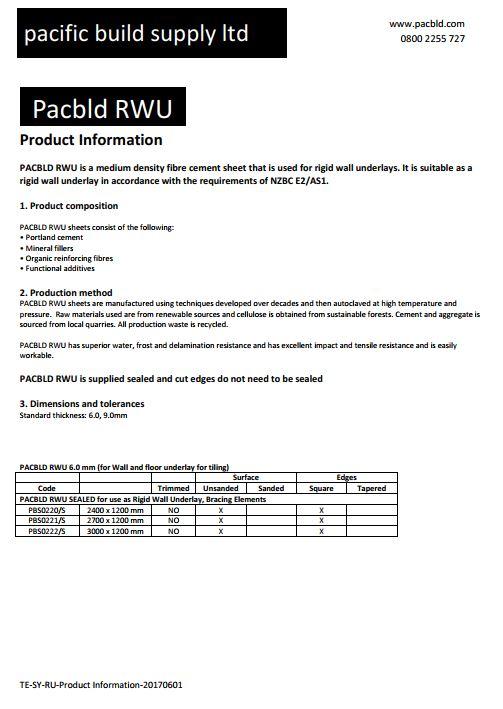 Rigid Wall Underlay Product Information