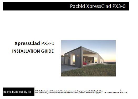 XpressClad PX3-0 Install Guide, Order List, Specification