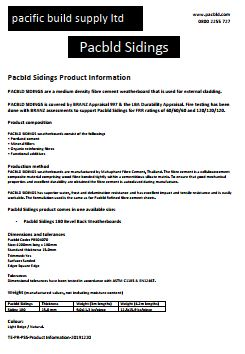 Pacbld Sidings Product Information - PDF