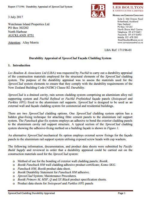 LBA Durability Appraisal