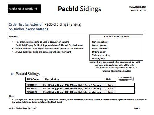 Pacbld Sidings Order List