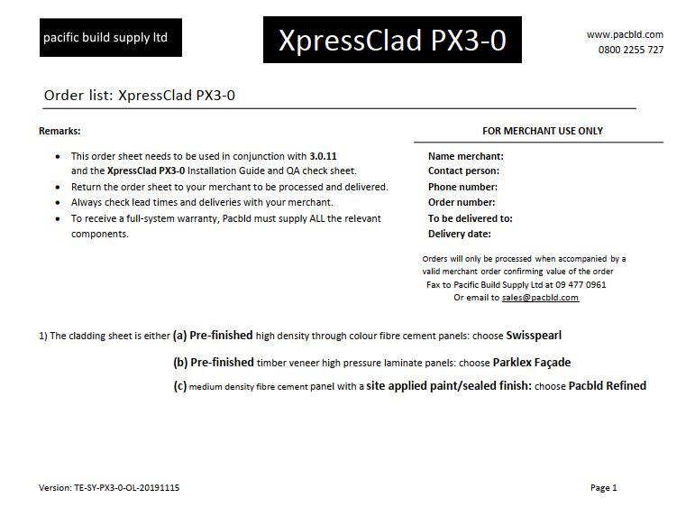PX3-0 Order List