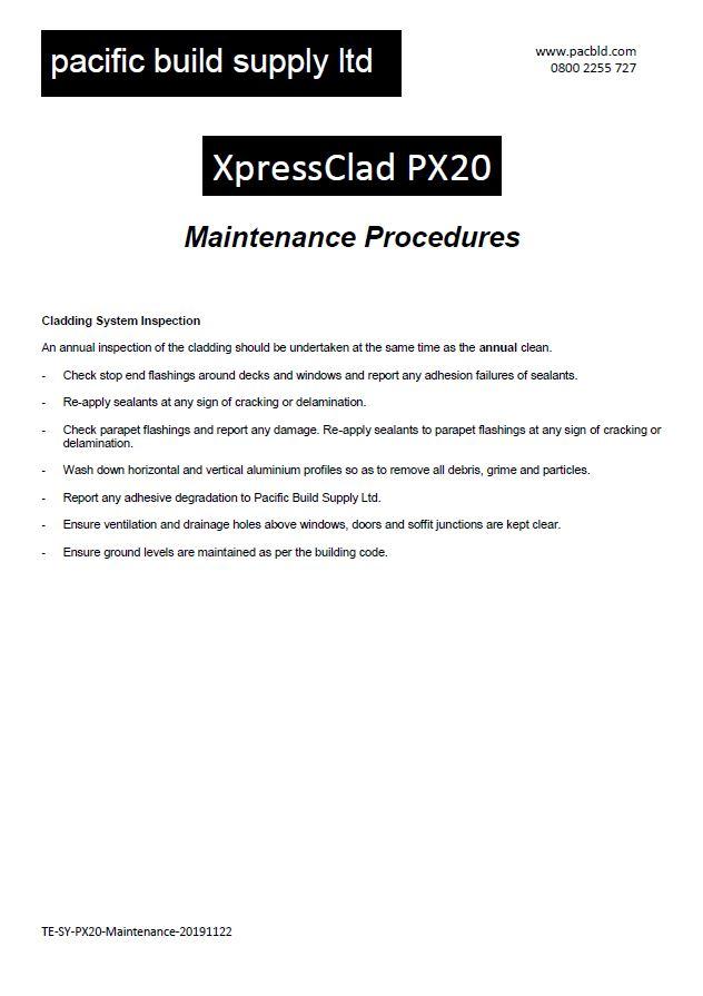 XpressClad PX20 Maintenance - Prefinished