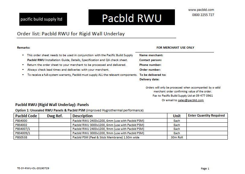 Pacbld RWU-PSM Order List