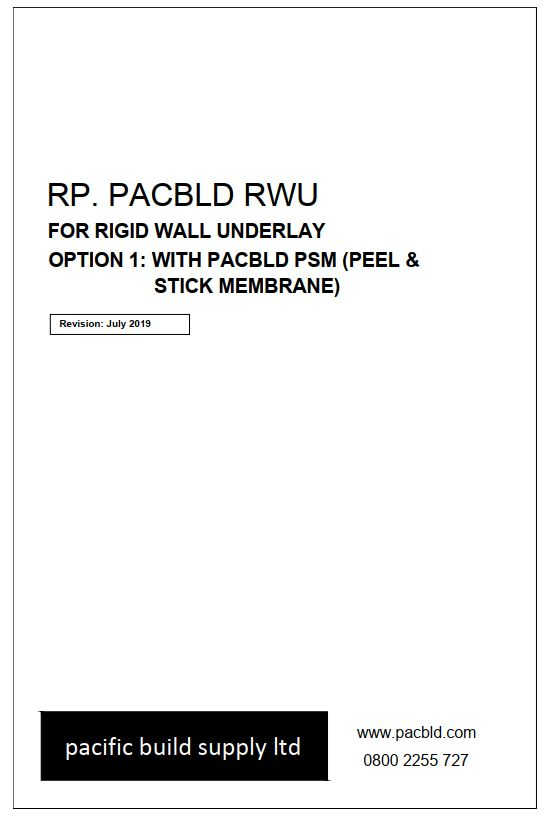 Pacbld RWU and Pacbld PSM (Peel and Stick Membrane) Details