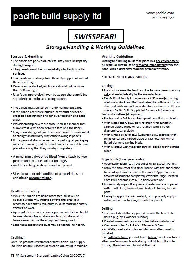 Swisspearl-Storage/Handling & Cleaning Guide [Jul 20]